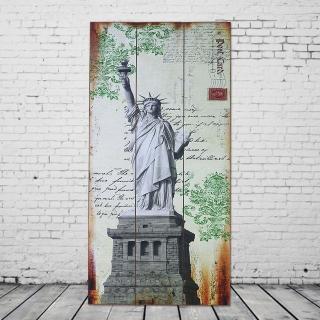 【OPUS LOFT 純真年代】40X80仿舊木板畫/無框畫/掛畫擺飾(G928 美國自由女神)