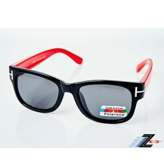 【Z-POLS】兒童專用矽膠軟質彈性壓不壞 Polarized寶麗來偏光太陽眼鏡S16(黑紅圖騰款 鏡片偏光抗紫外線)