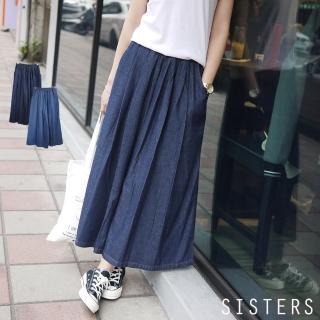 【SISTERS】韓國輕單寧高含棉牛仔寬褲裙(F/共二色)