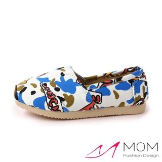【MOM】韓版休閒舒適帆布鞋 懶人樂福鞋 童鞋(迷彩藍)