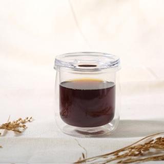 【Simple Real】TAMAGO雙層玻璃咖啡杯(330ml 附玻璃蓋)