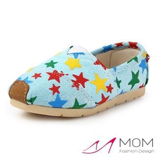 【MOM】韓版休閒舒適帆布鞋 懶人樂福鞋 童鞋(彩色星星藍)