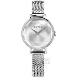 【rumba time】Hudson Gem Weave 紐約品牌 切割玻璃鏡面 日本機芯 米蘭編織不鏽鋼手錶 銀色 26mm(RU27525)