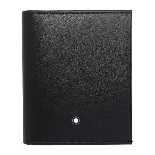【MONTBLANC 萬寶龍】夜航系列 經典亮面牛皮信用卡夾 黑色(118283 Black)