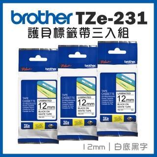 【brother】TZe-231 護貝標籤帶三入組(12mm 白底黑字)