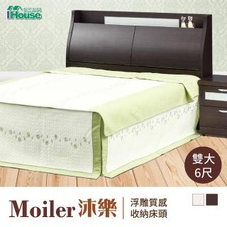 【IHouse】沐樂 浮雕質感收納床頭 雙大6尺