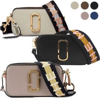 【MARC JACOBS 馬克賈伯】Snapshot 防刮牛皮品牌字母LOGO織帶相機包(4色)
