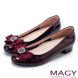 【MAGY】甜美新風貌 真皮造型鑽飾蝴蝶結粗低跟鞋(紅色)