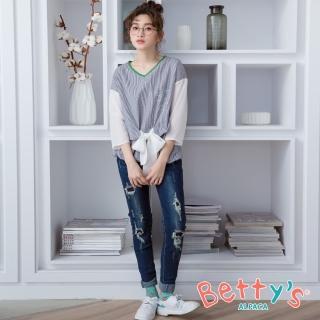 【betty's 貝蒂思】刷破抽鬚顯瘦窄管牛仔褲(深藍)