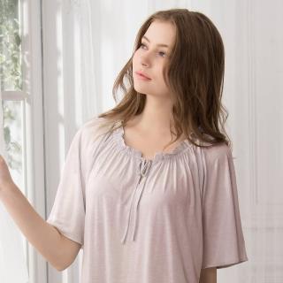 【La Felino 羅絲美】保養系列短袖洋裝睡衣(藕紫色)
