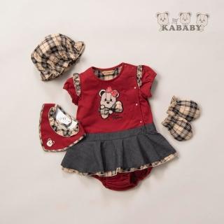 【金安德森】春夏彌月禮盒-格子蝴蝶結女熊配色兔裝(紅色)