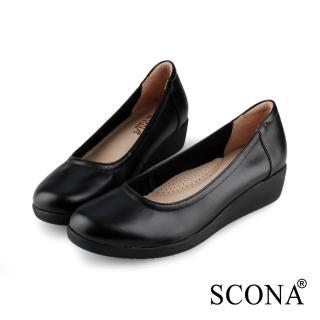 【SCONA 蘇格南】全真皮 舒適輕量厚底鞋(黑色 31002-1)