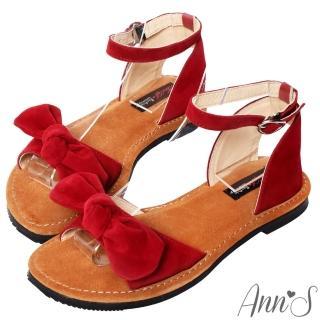 【Ann'S】水洗牛皮-甜美扭結寬版平底涼鞋(紅)