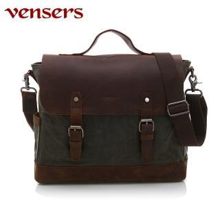 【Vensers】韓潮頂級棉麻包系列~公事包(C207701軍綠)