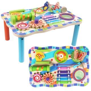 【經典木玩】多功能益智積木玩具桌(兒童玩具桌)