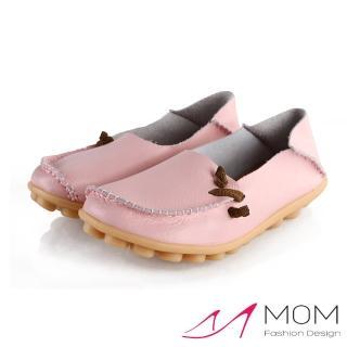 【MOM】全真皮小鈕結造型兩穿超軟Q休閒淑女豆豆鞋(粉)