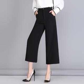 【WHATDAY】優雅舒適時尚簡約七分闊腿褲S-2XL