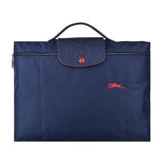 【LONGCHAMP】LONGCHAMP COLLECTION系列刺繡標誌尼龍摺疊款拉鍊公事包(海軍藍x紅)