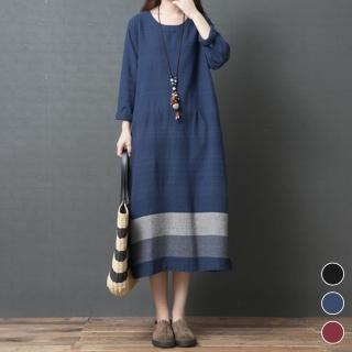 【A.Cheter】名古屋春色典雅織紋棉麻寬鬆洋裝103651#j(3色)