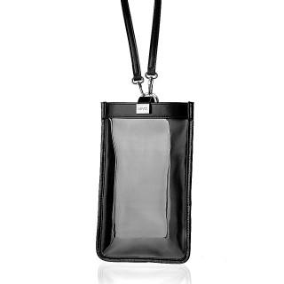 【LIEVO】TOUCH 真皮斜背手機護照包(黑TC06-BK)