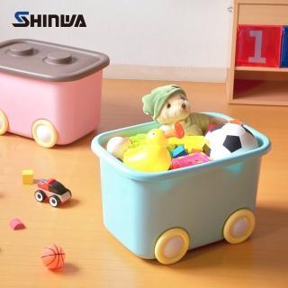 【nicegoods】日本製 Shinwa伸和 玩具衣物可疊固定收納箱L-附輪-2入(32L)