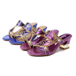 【Sp house】夏季光彩閃亮樹葉水鑽一字型粗跟涼鞋(2色可選全尺碼)