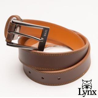 【Lynx】美國山貓雅致簡約真皮穿針式皮帶-共2色