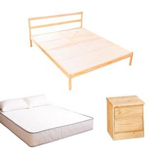 【AS】頂級松木雙人床三件房間組(床架+床墊+床頭櫃)