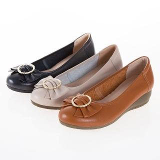 【G.Ms.】MIT系列-牛皮蝴蝶結楔型小坡跟鞋(米白)