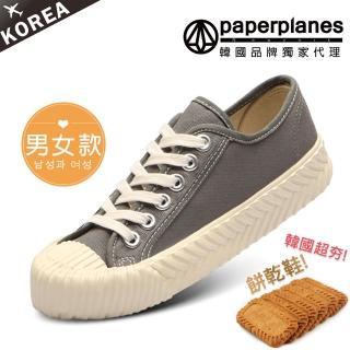 【Paperplanes】韓國空運/版型偏小。男女款帆布休閒餅乾鞋(7-507灰/現貨)