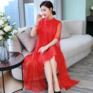 【REKO】復古中國風印花五分袖旗袍洋裝S-2XL(共兩色)
