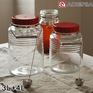 【ADERIA】日本進口復刻玻璃梅酒瓶2入組(3L+4L)