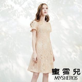 【mysheros 蜜雪兒】英式荷葉領雙層蕾絲洋裝(粉)