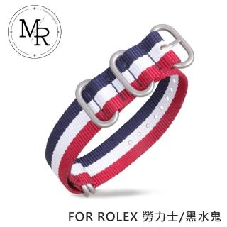 【MR】20mm ROLEX 勞力士/黑水鬼 尼龍/三環錶帶