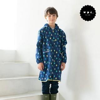 【w.p.c】空氣感兒童雨衣/超輕量防水風衣 附收納袋(藍雨滴M)