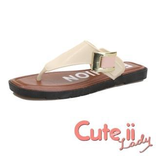 【Cute ii Lady】大金屬釦環復古造型舒適人字拖鞋(白)