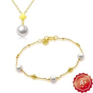 【A+】情有獨鍾 999千足黃金項鍊手鍊套組-1.5錢±5厘(2件組)