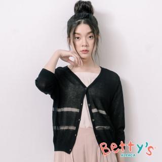【betty's 貝蒂思】條紋開襟透膚針織罩衫(黑色)