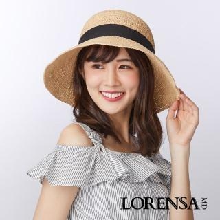 【Lorensa蘿芮】拉菲亞草緞帶裝飾手工編織遮陽草帽