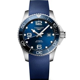 【LONGINES 浪琴】深海征服者浪鬼陶瓷潛水機械錶-藍x43mm(L37824969)