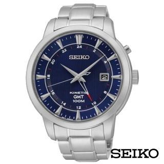 【SEIKO 精工】成長紳藍人動電能KINETIC不鏽鋼男錶-藍x43.5mm(SUN031P1)