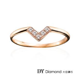 【DY Diamond 大亞鑽石】L.Y.A輕珠寶 18K玫瑰金 心戀 鑽石線戒