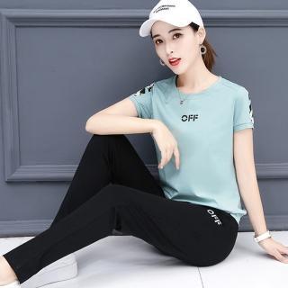 【KISSDIAMOND】預購-韓版精梳棉字母印花修身時尚運動2件套-257(上衣+長褲/4色 M-3XL 可選)