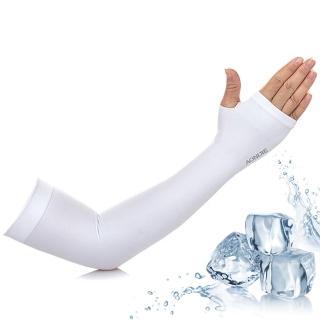 【活力揚邑】指孔涼感萊卡袖套防曬UPF50抗UV防蚊吸濕排汗自行車路跑登山臂套-溫和白