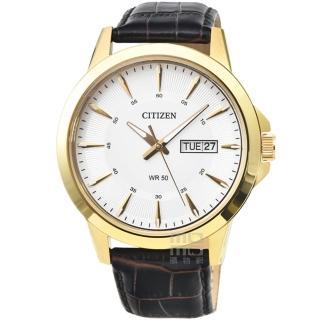 【CITIZEN 星辰】星辰簡約風格石英皮帶錶-金框白面(BF2018-01A)