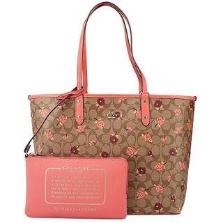 【COACH】珊瑚橘雙色玫瑰X卡其PVC經典CLOGO雙面用子母包