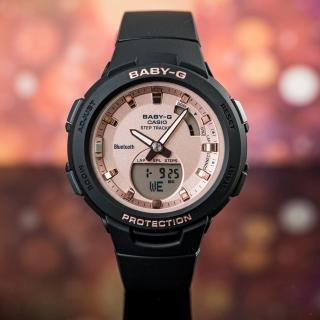 【CASIO 卡西歐】BABY-G G-SQUAD 玫瑰金智慧藍牙時尚運動腕錶/黑(BSA-B100MF-1ADR)