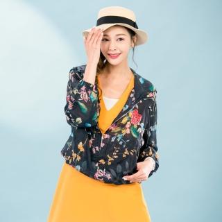 SUPERWANDS彩繪風超薄100%亞麻遮陽罩衫