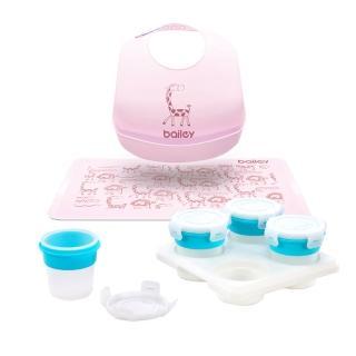 【2angels】矽膠副食品儲存杯120ml+BAILEY矽膠圍兜餐墊禮盒(粉色)