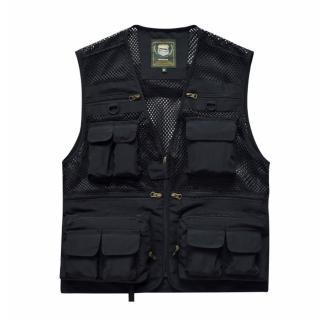 【PUSH!】戶外休閒用品多功能16口袋背心夾克戶外攝影釣魚馬甲背心(F26黑色)